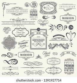 Calligraphic Design Elements and Frames. Vintage Collection. .