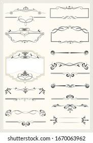 Calligraphic elements and frame vintage set. illustration