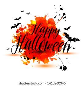 Calligraphic text Happy Halloween on bright orange blots texture