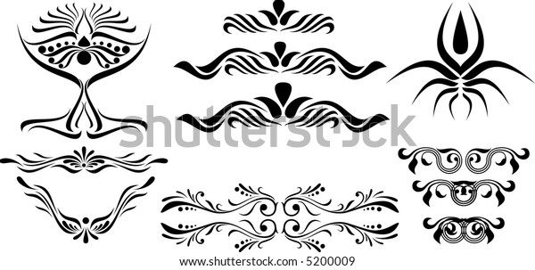 Calligraphical figures created for registration of pages, books, diplomas