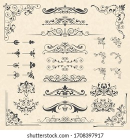 Calligraphy borders corners. Classic vintage ornament victorian old frames design elements