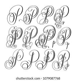 Calligraphy Lettering Script Font P Set Hand Written Signature Letter Design Raster Version Illustration