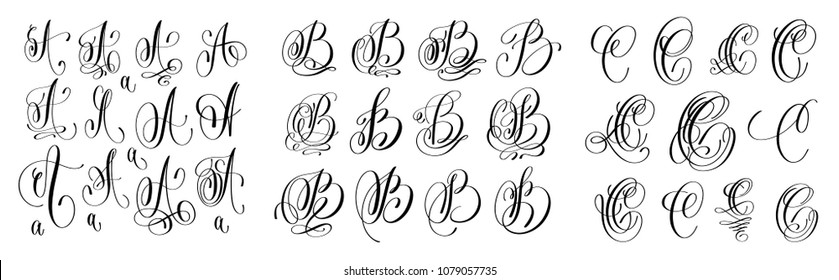 calligraphy letters set A, B and C, script font Isolated on white written with ink, raster version illustration