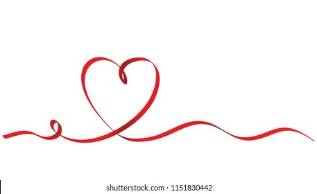 Calligraphy Red Ribbon Heart on White Background, Stock Illustration