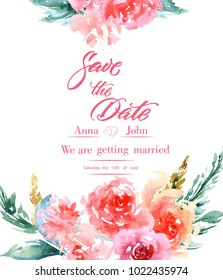 Calligraphy Save The Date. Watercolor Flowers Invitation Modern Calligraphy. Save The Date Calligraphy.
