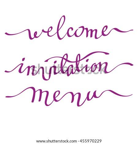 Calligraphy Welcome Invitation Menu Card Handwritten Stock