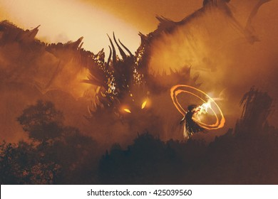 calling of the dragon,magician summoning monster,sorcerer casts a spell,illustration