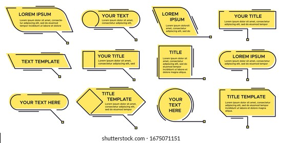 Callout title. Call text graphic, modern infographic yellow layout titles and video, news callouts simple text box isolated line  set