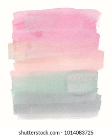 Calm pastel pink to green vertical gradient backdrop painted in watercolor on clean white background