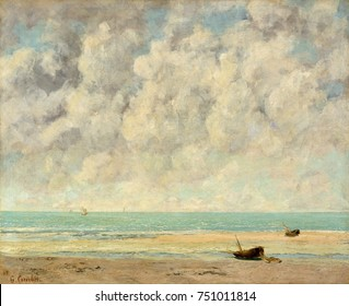 THE CALM SEA, by Gustave Courbet, 1869, French painting, oil on canvas. The English Channel at Etretat, Normandy in August 1869. By this time Courbet was appreciative of the work of Impressionists Man