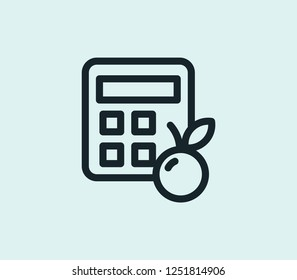 Calorie calculator icon line isolated on clean background. Calorie calculator icon concept drawing icon line in modern style.  illustration for your web mobile logo app UI design.