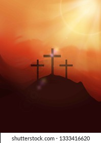 Calvary hill with silhouettes of the cross. Easter illustration. Jesus Christ is risen.Christian banner