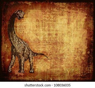 A Camarasaurus dinosaur completes this worn and grungy parchment.