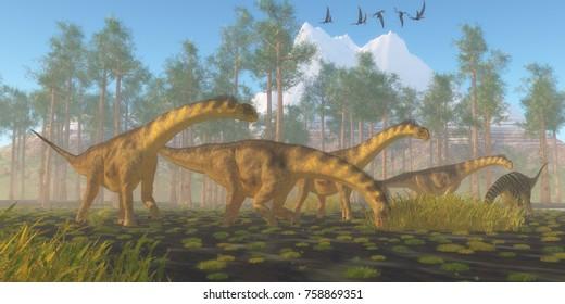Camarasaurus Dinosaur Herd 3d illustration - A flock of Dorygnathus reptiles fly over a herd of Camarasaurus dinosaurs busy eating vegetation.