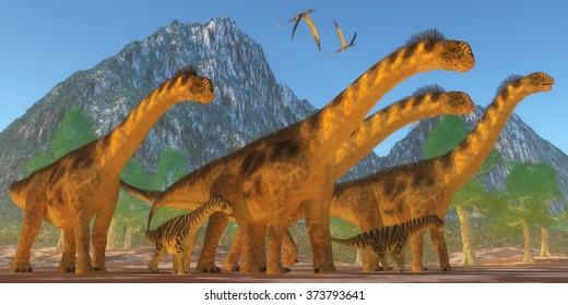 Camarasaurus Dinosaurs - A Camarasaurus sauropod dinosaur herd keep watch on their offspring as two Rhamphorhynchus reptiles fly over.