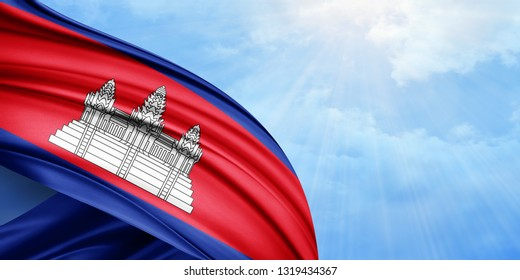 Cambodia flag of silk with copyspace for your text or images and sky background-3D illustration