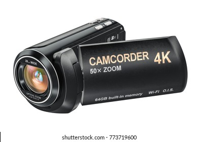 Camcorder, videcamera 3D rendering isolated on white background