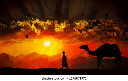 Camel at sunset in the African desert with a driver. Oil painting