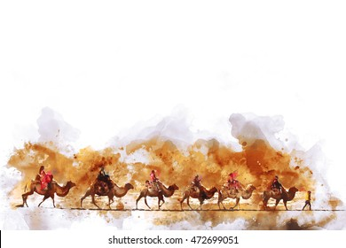Camels and people on silk road,  watercolor illustration