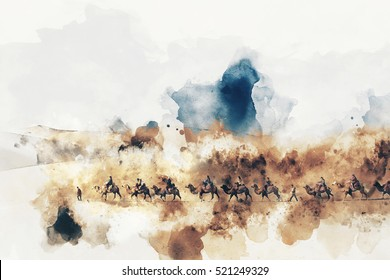 Camels and people walking on the silk road and desert,  digital watercolor illustration
