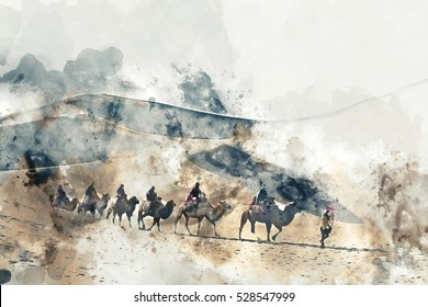 Camels and people walking on the silk road and sand dune of desert,  digital watercolor illustration