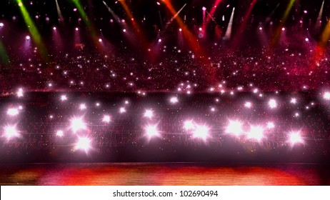 camera flash in concert with red spotlight