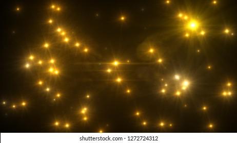 Camera flash light on black background 3d illustration