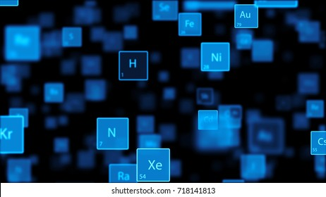 The camera flies through a Periodic Table on dark background. Several elemets fly past, and different chemical elements can be seen in the middle. Computer animated. 3d render.