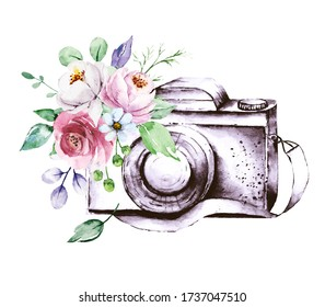 Camera with flowers. Watercolor painting. Isolated on white background.