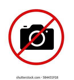 Camera icon in prohibiting red circle, No photos ban sign, Forbidden to take pictures symbol. illustration