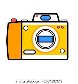 Camera  icon. Symbol of equipment for digital photography or photographer. Device for creative photo, photocamera sign. Modern minimalistic flat design. Illustration isolated on white background