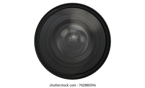 Camera lens with reflections - front view on white background - 3d render