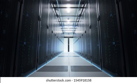Camera moving along the narrow corridor in data center with server equipment on both sides, sliding doors opening in the end of passage. Seamlessly looped photorealistic 3D render animation.