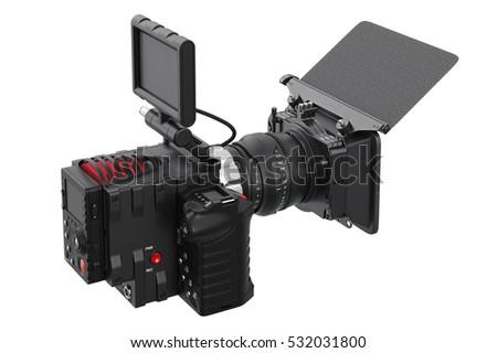 Camera Video Black Professional Camcorder 3 D Stock