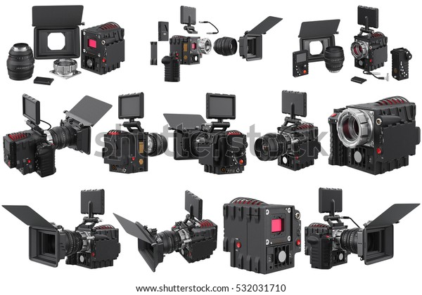 Camera Video Professional Device Set 3d Stock Illustration