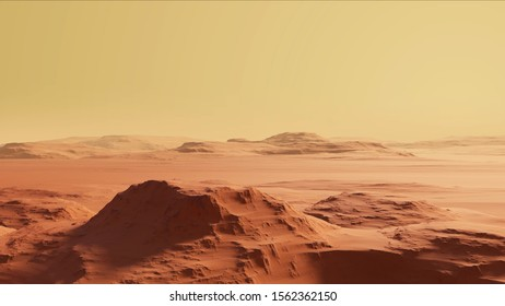 Camera view from over the realistic Surface of Mars. The rocky and desert surface with large mountains. Panoramic aerial view of the red planet. 3D Rendered cosmic landscape