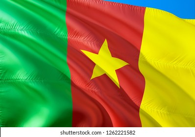 Cameroon flag. 3D Waving flag design. The national symbol of Cameroon, 3D rendering. National colors of Cameroon 3D Waving sign background design. 3D ribbon, wallpaper, pattern background
