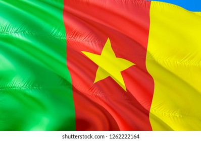 Cameroon flag. 3D Waving flag design. The national symbol of Cameroon, 3D rendering. Cameroon 3D Waving sign design. Waving sign background wallpaper. 3D pattern background download HD wallpaper