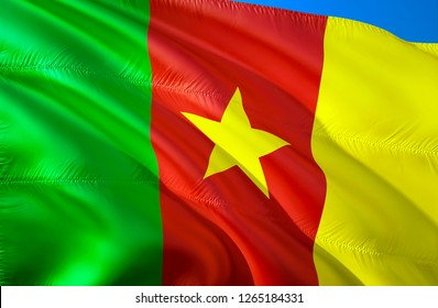Cameroon flag. 3D Waving flag design. The national symbol of Cameroon, 3D rendering. National colors and National flag of Cameroon for a background. Cameroon sign on smooth silk