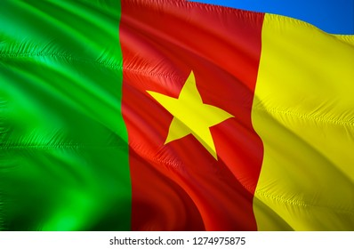 Cameroon flag. 3D Waving flag design. The national symbol of Cameroon, 3D rendering. The national symbol of Cameroon background wallpaper. 3D ribbon, wallpaper, pattern background