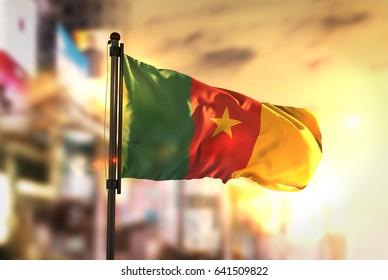 Cameroon Flag Against City Blurred Background At Sunrise Backlight 3D Rendering