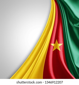Cameroon flag of silk with copyspace for your text or images and White background-3D illustration
