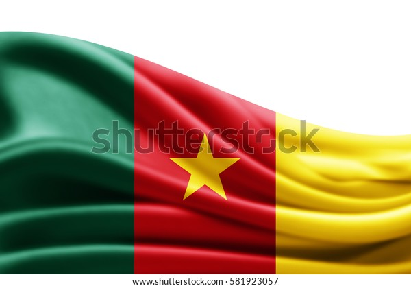 Cameroon flag of silk with copyspace for your text or images and white background -3D illustration