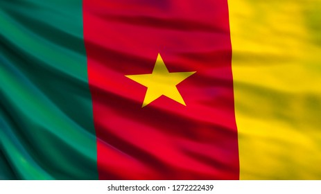 Cameroon flag. Waving flag of Cameroon 3d illustration. Yaounde