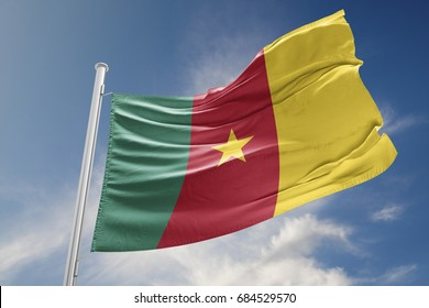 Cameroon flag is waving at a beautiful and peaceful sky in day time while sun is shining. 3D Rendering