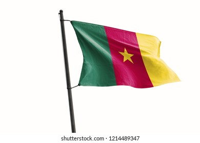 Cameroon Flag Waving Wind On Isolated White Background. 3D Illustration Of Wave And Fabric Cameroon Flag.