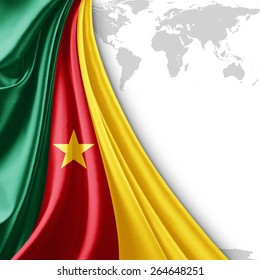 Cameroon flag and world map background