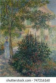 Camille Monet in the Garden at Argenteuil, by Claude Monet, French impressionist oil painting. Monet applied the paint in small daubs over the entire canvas, a style that became characteristic of his