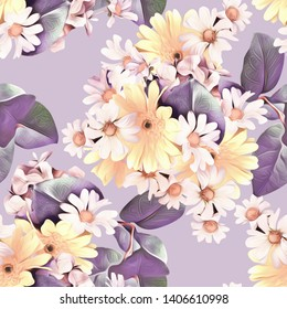 Camomile flowers seamless pattern. Floral template, watercolor illustration.