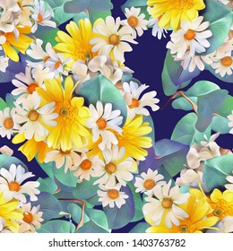 Camomile flowers seamless pattern. Watercolor illustration, floral design.